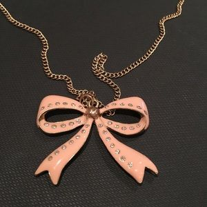 Bow Necklace Blush Pink and Gold